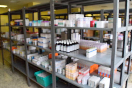 Pharmaceuticals stored on shelves