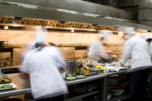 A busy restaurant kitchen